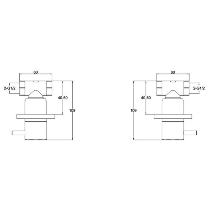 Dimensions of Just Taps Inox IX089 Wall Mounted On/off Shower Valves