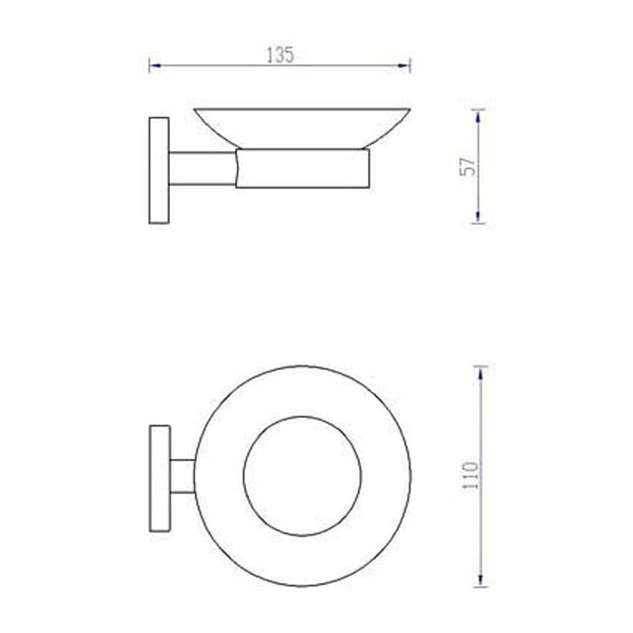 Dimensions of Inox Soap Dish IX131
