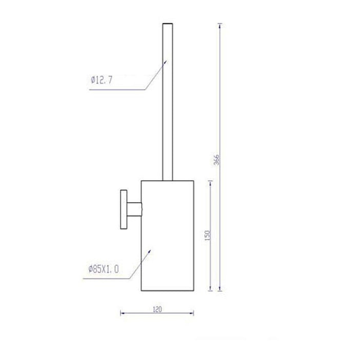 Dimensions of Inox Wall Mounted Toilet Brush Holder