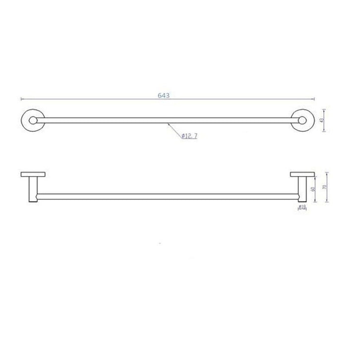 Dimensions of Inox Wall Mounted Shower Rail