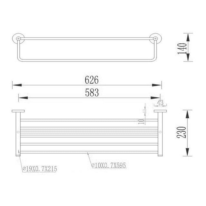 Dimensions of Towel Shelf and Rail