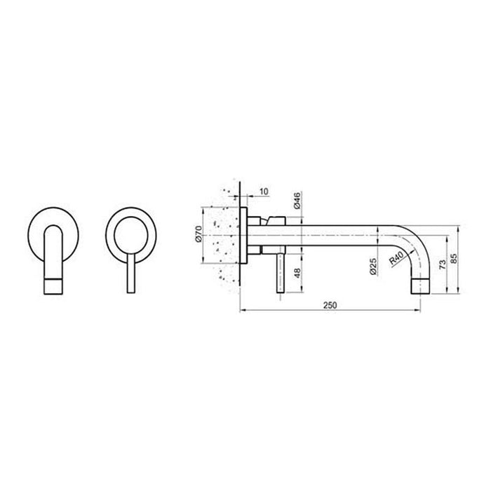 Dimensions Of Inox 2 Hole Basin Mixer - IX092