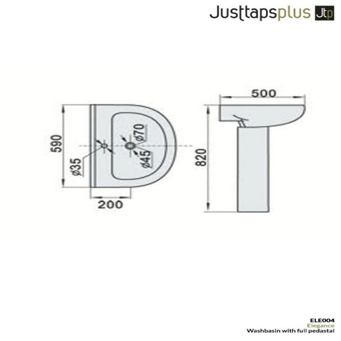 Dimensions of Just Taps Elegance Full Basin Sink
