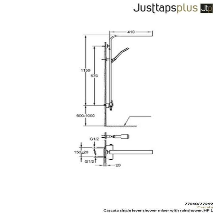 Dimensions of Just Taps Cascata 77210/7721 Exposed Shower Set