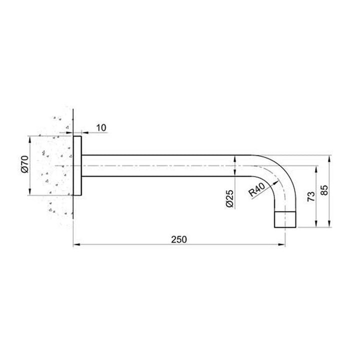Dimensions of Just Taps IX433 Inox Stainless Steel Spout