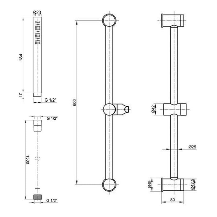 Dimensions of Inox Luxury Slide Rail Kit