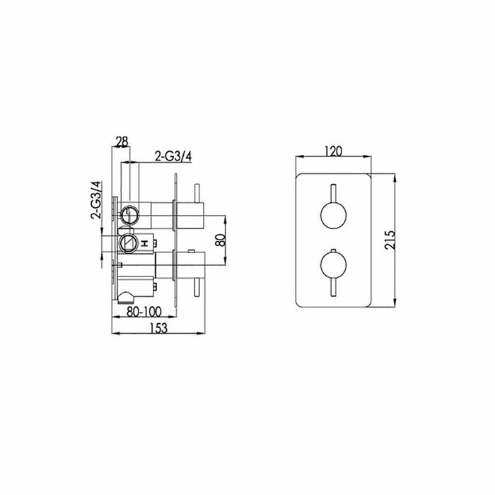 Dimensions of Just Taps Inox 3 Outlet Thermostatic Shower Valve