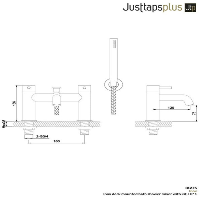 Dimensions of Inox Bath Shower Mixer Kit - IX275