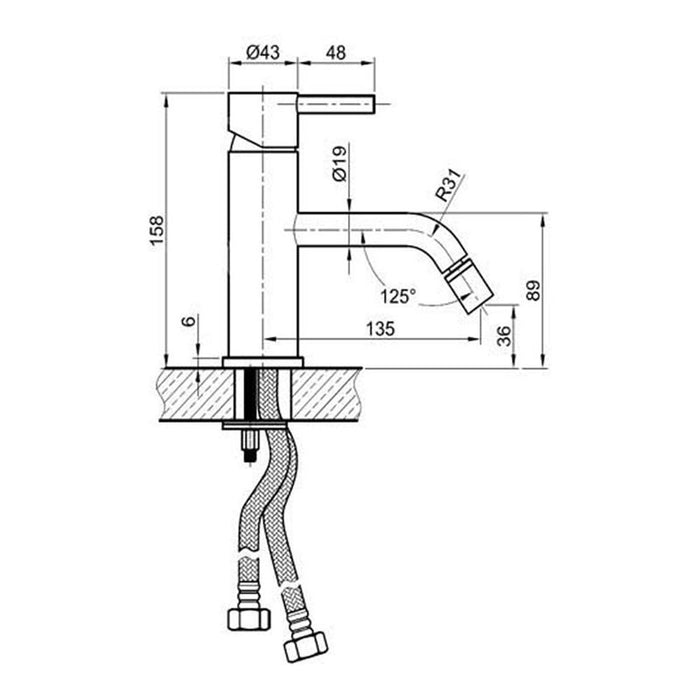 Dimensions Of Just Taps Inox Basin Mixer Tap Module Number IX001