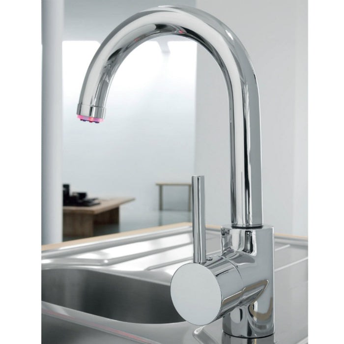At Home Photo Of Just Taps LED182 LED Light Sink Mixer with Swivel Spout