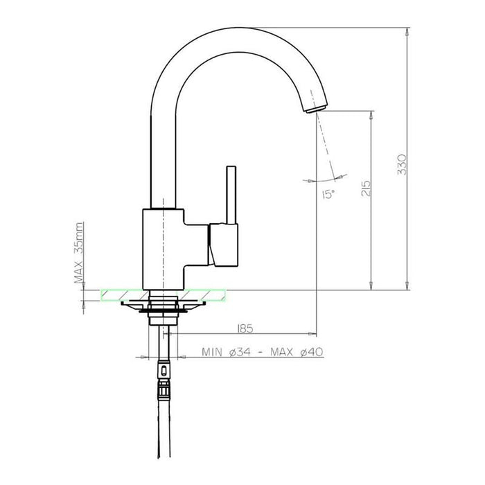 Dimensions Drawing For JustTaps LED182 LED Light Kitchen Mixer Tap with dimensions