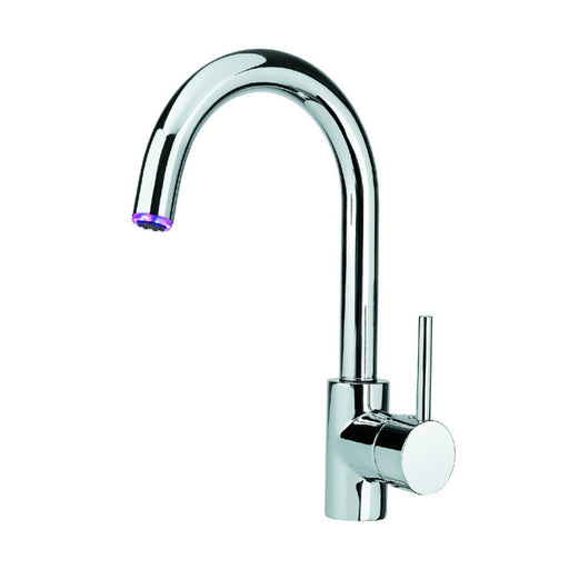 Photo Of Just Taps LED LED182 Light Kitchen Mixer Tap with Swivel Spout Model LED182 With White Background