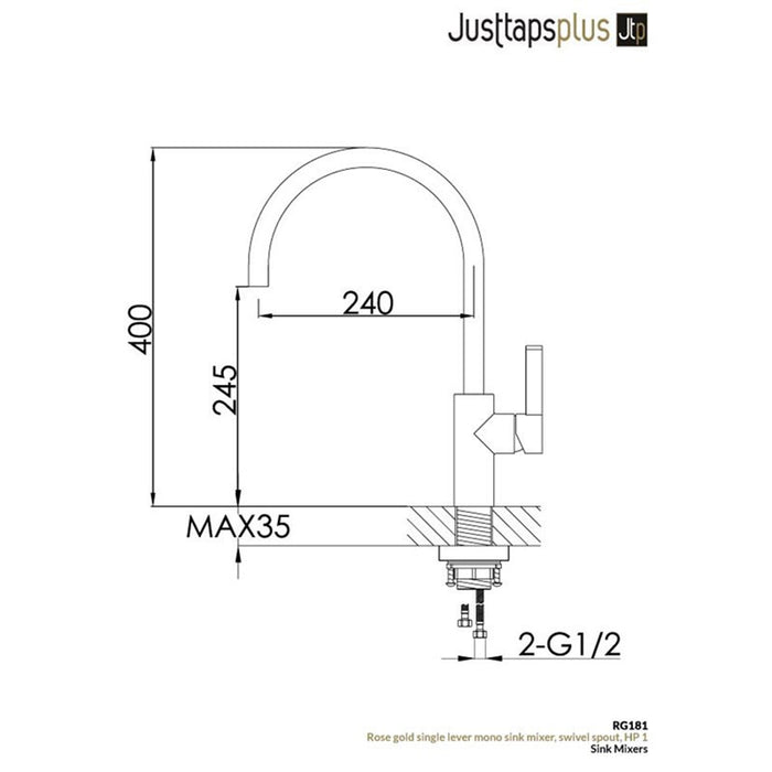 JustTaps Rose Gold Kitchen Mixer Tap Dimensions RG181