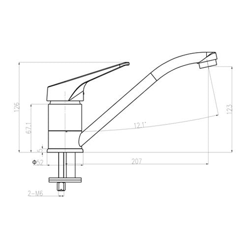 Dimensions of Mayfair Thyme Chrome Kitchen Mixer Tap
