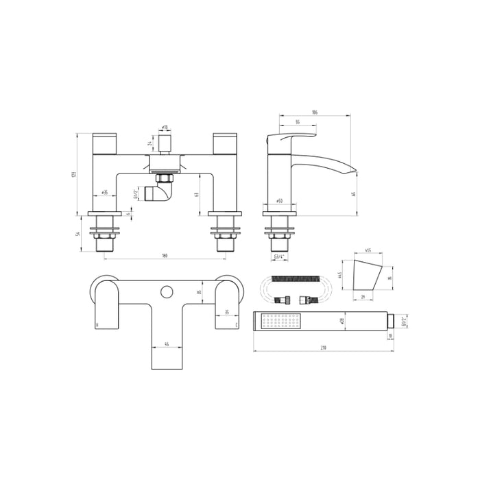Dimensions of Mayfair Slide Bath Shower Mixer with Kit