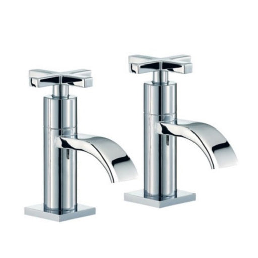 Chrome 2 Hole Surf Basin Pillar Taps Front View