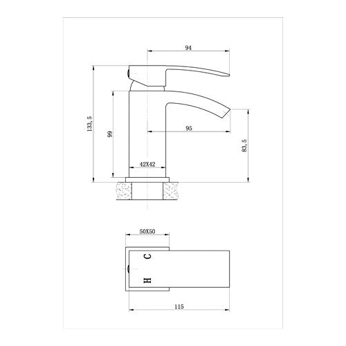 Mayfair CLD009 Colorado Chrome Monobloc Basin Sink Mixer Tap dimensions and technical drawings and specifications