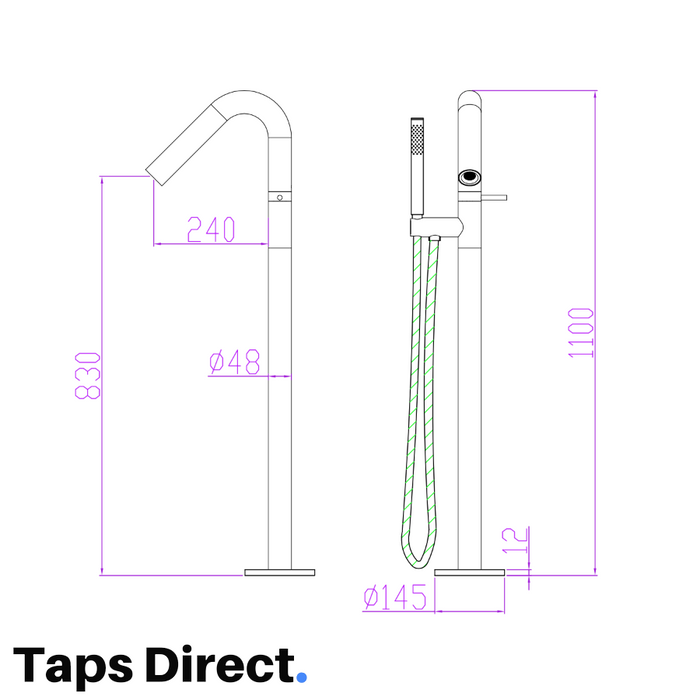 Image shows The Mayfair Fossa Floorstanding Thermostatic Bath Shower Mixer Tap FOS073 dimensions and technical specifications