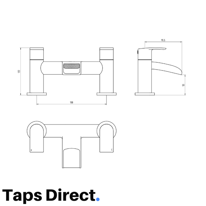 dimensions and technical specifications of the mayfair glide GLD005 bath filler mixer tap