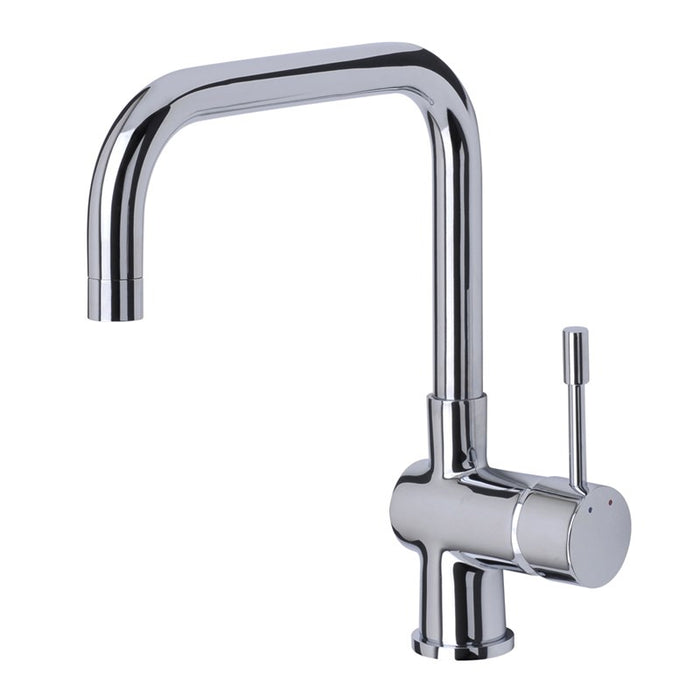 This photo shows The Mayfair KIT157 Villa Mono Single Lever Kitchen Mixer Tap With a white background, photo is taken from the side