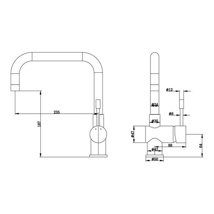 Technical specifications and dimensions of the Mayfair KIT157 Villa Mono Single Lever Kitchen Mixer Tap