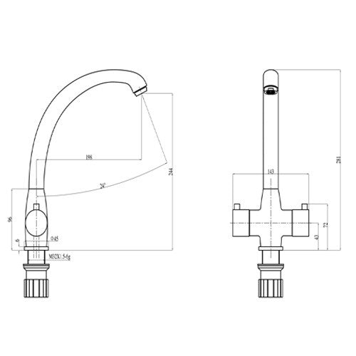 Dimensions and technical drawings of Mayfair Moda KIT239 Dual lever Mixer Kitchen Mixer Tap