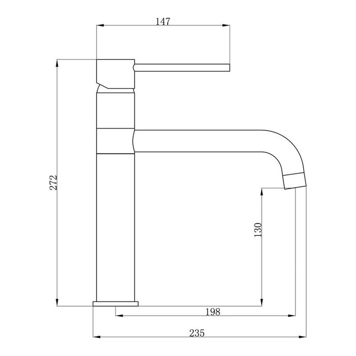 Mayfair ascot kit017 Single lever modern tap in brushed nickel dimensions and technical drawings