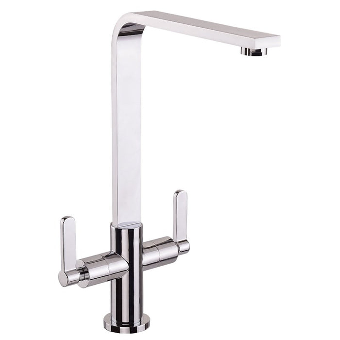 Chrome Dual Lever Mono Reef Kitchen Tap Front View