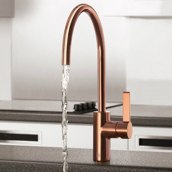 At Home Photo Of A Rose Gold Kitchen Mixer Tap Model Number RG181