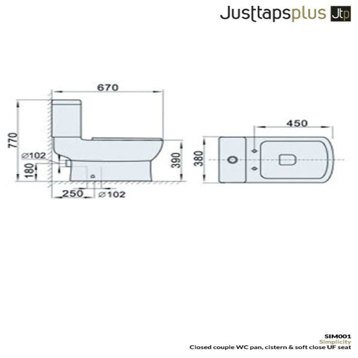 Dimensions of Just Taps Simplicity Modern Toilet & Cistern