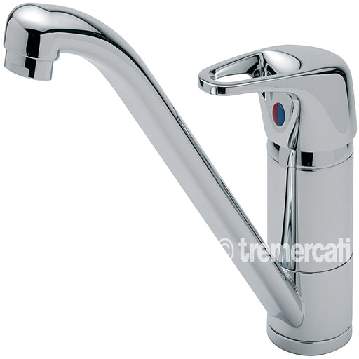 Tre Mercati Chrome Modena Mono Sink Mixer With Cut Out Handle 175 Front View