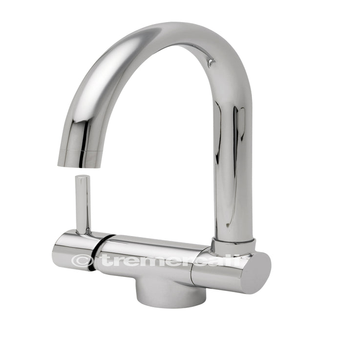 Tre Mercati Chrome Origami Mono Sink Mixer With Fold Down Spout 91040 Front View