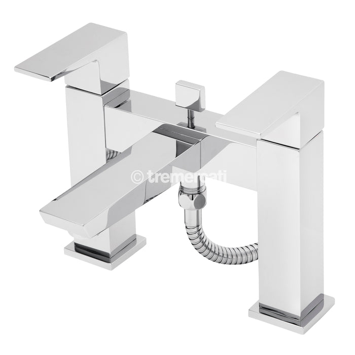 Tre Mercati Chrome Wilde Pillar Bath Shower Mixer With Kit 47050 Front View
