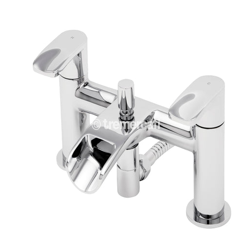 Tre Mercati Chrome 1650 Ora Deck Mounted Bath Shower Mixer Front View