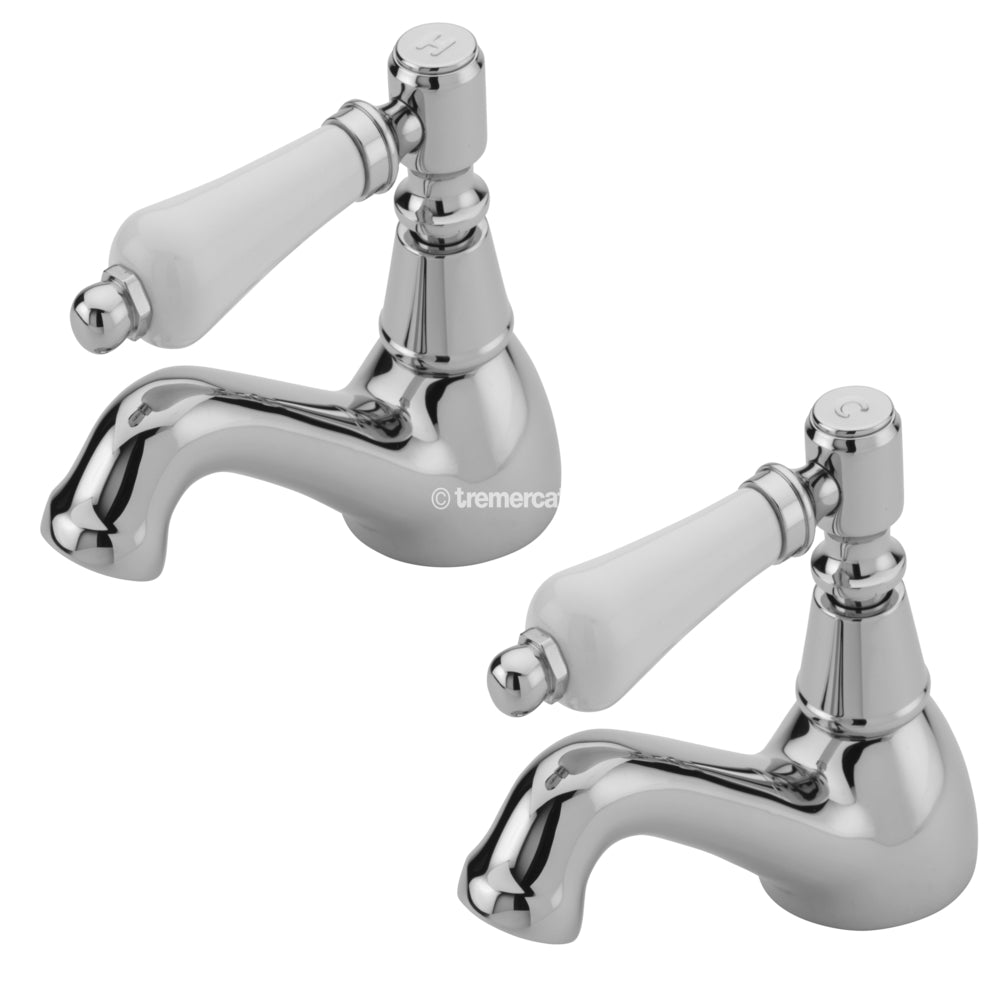 Tremercati 1502 Chrome Victoria Blanco Pair of Bath Taps Full View