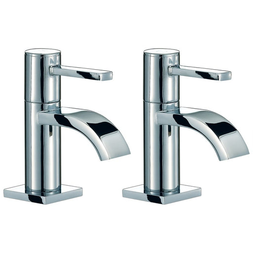Chrome Mayfair Wave Basin Pillar Taps Front View
