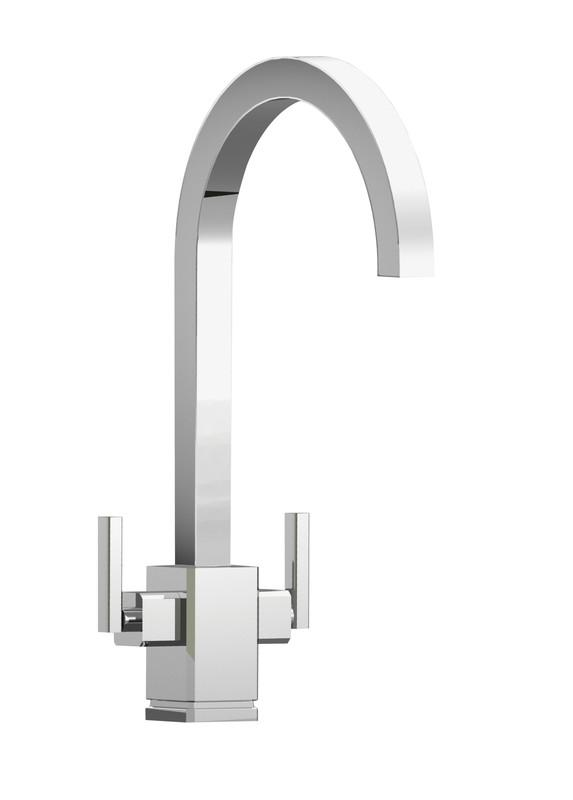 Rangemaster Quadrant Dual Lever Chrome Rounded Kitchen Tap
