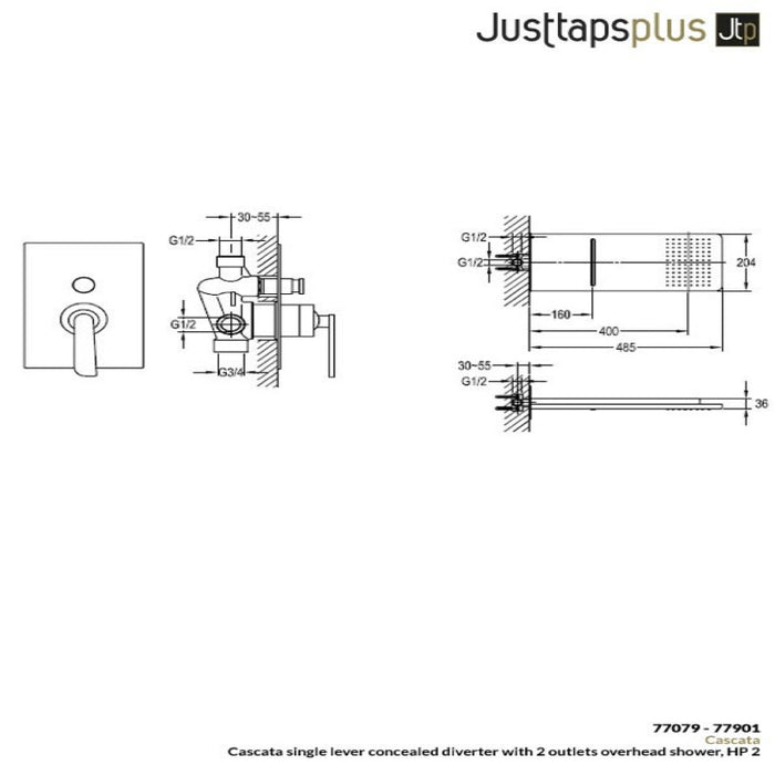Dimensions of Just Taps Cascata Overhead Shower & Valve Set