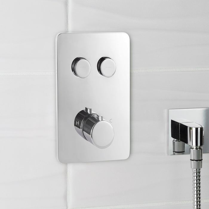 Just Taps Hugo 2 Outlet Touch Thermostat with Overhead Shower COM056