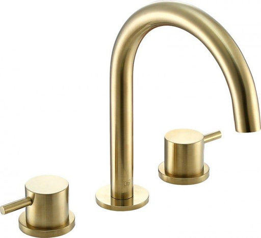 VOS brushed brass, 3 hole deck mounted basin mixer, MP 0.5