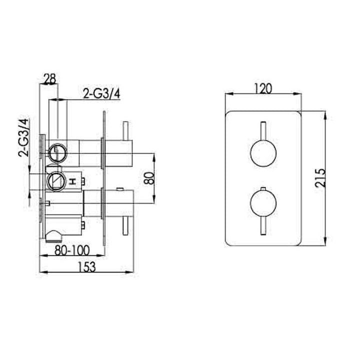 Just Taps ix671 shower valve dimensions and technical drawings
