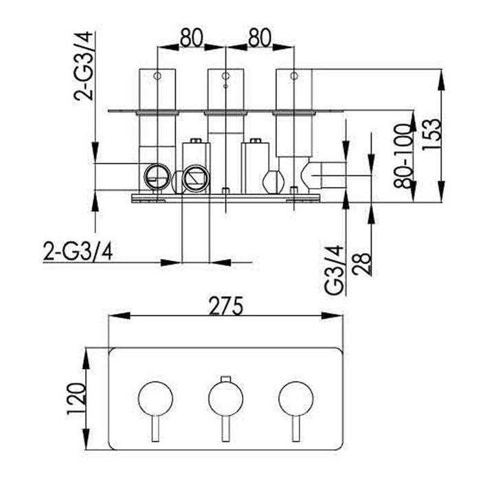 Dimensions of Just Taps Inox 3 Outlet Horizontal Thermostatic Shower Valve