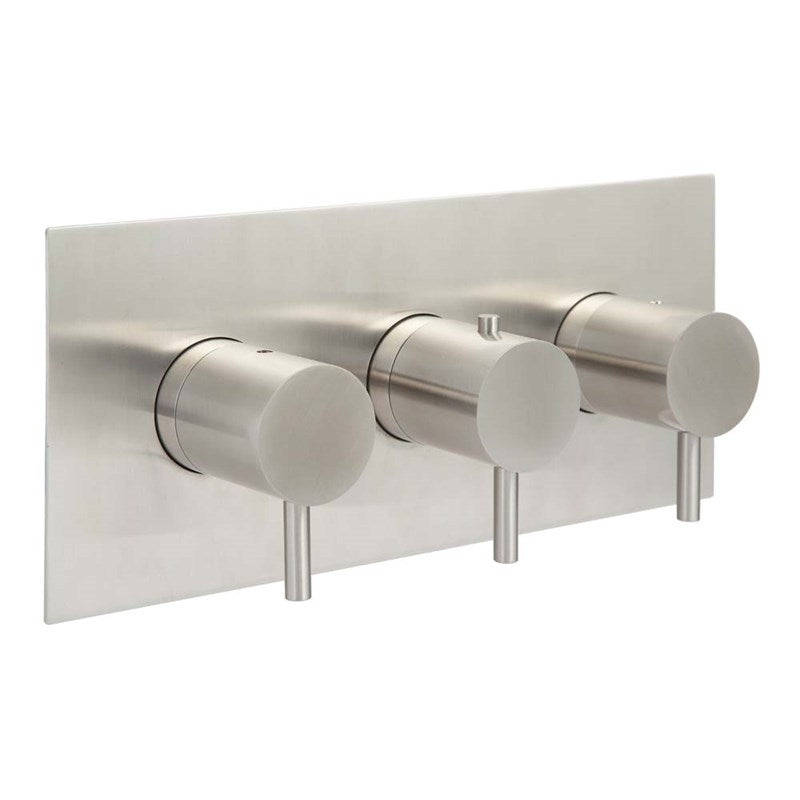 Just Taps IX692 Inox Horizontal 3 Oulet Shower Valve Front View