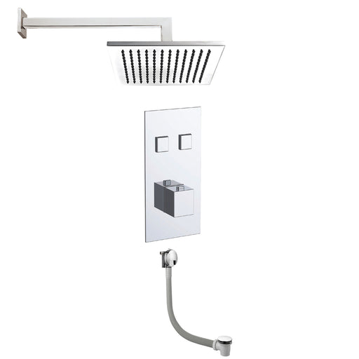 Just Taps COM060 Athena Chrome 2 Outlet Touch Thermostat with Overhead Shower and Bath Filler