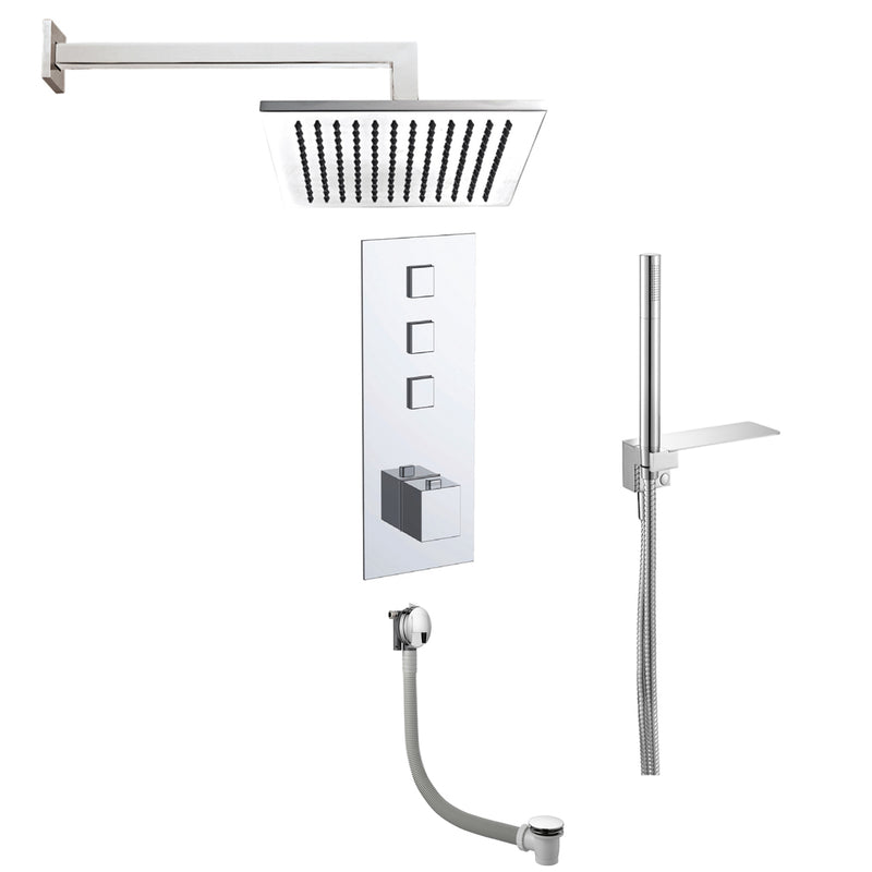 Just Taps COM061 Athena Chrome 3 Outlet Thermostat with Overhead, Hand Shower and Bath Front View