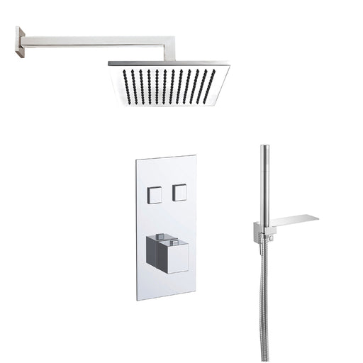 Just Taps COM059 Athena Chrome 2 Outlet Thermostat with Overhead and Hand Shower Front View
