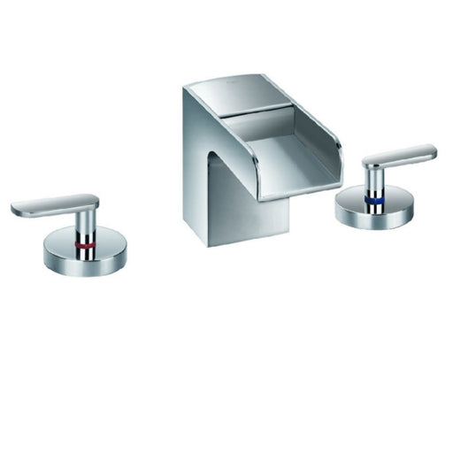 Just Taps 77191 Cascata 3 Hole Waterfall Basin Tap Front View