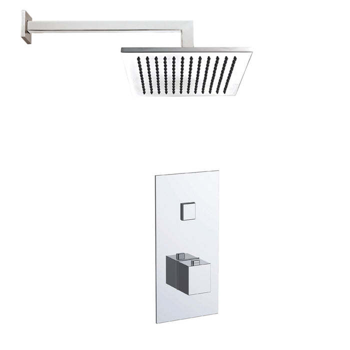 Just Taps COM058 Athena Chrome 1 Outlet Touch Thermostat with Overhead Shower Front View