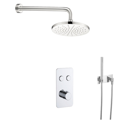 Just Taps COM055 Hugo Chrome 2 Outlet Touch Thermostat with Overhead and Handset Shower Front View