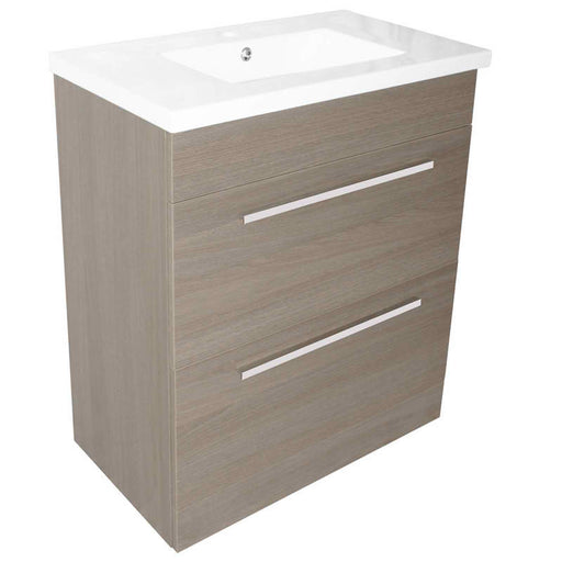 Just Taps PFS801GR+P800BS Pace 800 Grey Floor Mounted unit with Two Drawers and Basin